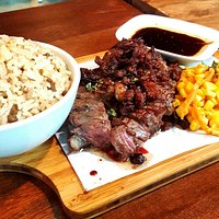 US Angus Ribeye Steak with toasted fat. With steak rice. Also hanger steak and shrimp pasta.