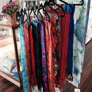 Beautiful range of handpainted silk scarves - great travel gifts!