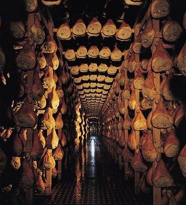 Prosciutto di Parma aging cellars