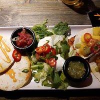 Delicious vegetarian quesadillas and soft tacos with scrimps