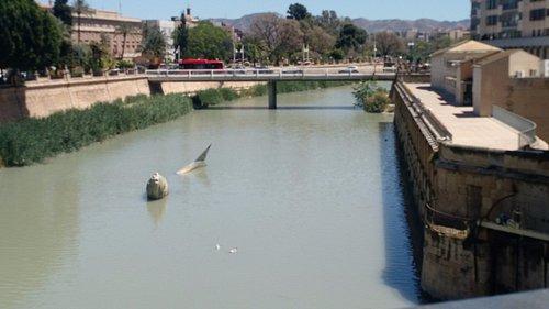 tem uma escultura de uma serdinha no meio da agua.