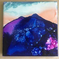 Alcohol Ink Mountain on tile trivet
