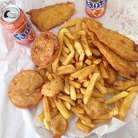 Blue Cod, Chop Suey Patties & Oysters.