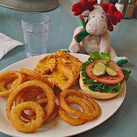 Steelhead on a bun with onion rings