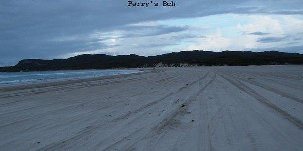 Long flat main beach at dusk