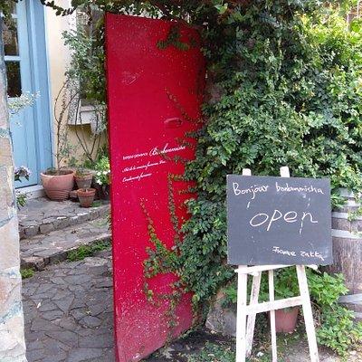店門口的立牌與綠意