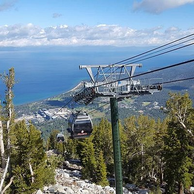The view of Lake Tahoe from the first stop up the gondola ride.
