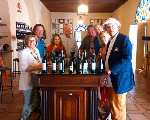Wine tasting group at a winery in our excursion to Jerez