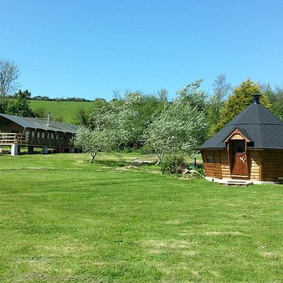 Safari Tent and BBQ lodge, part of our Glamping offering, set in a beautiful natural valley.