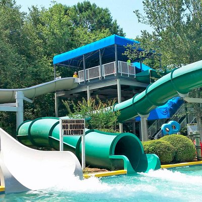 One open and one closed tube slide. Fun for the bigger kids or ride double with a smaller kiddo.