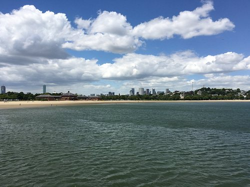Downtown and South Boston from the southern end of Carson Beach.