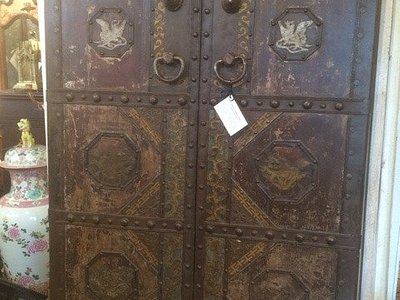 18th Century Chinese Temple Entrance Iron Mounted & Polychrome Wood Doors