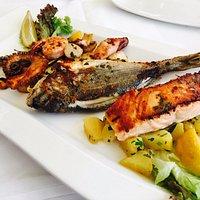 Fisch(t)raum-Teller: Lachs, Goldbrasse, Scampi, Oktopus und Beilage