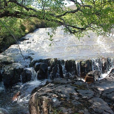 water flowing over rock formation at head of falls .....
