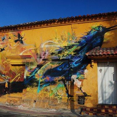 Beautiful graffiti on a side street near Iglesia de la Trinidad.