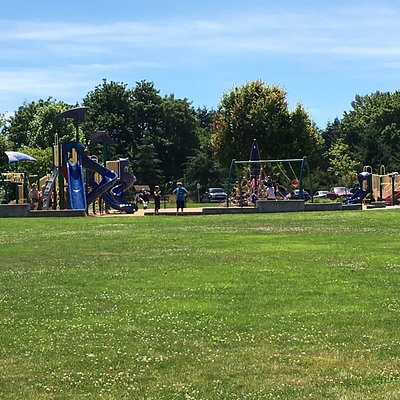 Lovely little park with busy playground and large party gazebo. Paved walking trail makes it eas