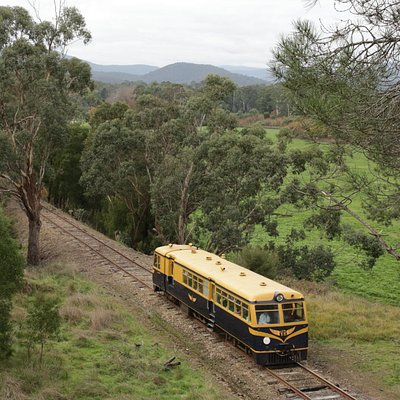 Beautiful Yarra Valley with its cute railcar