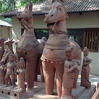 Various pottery figurines near the entrance