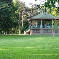 The gazebo in the center of the park.