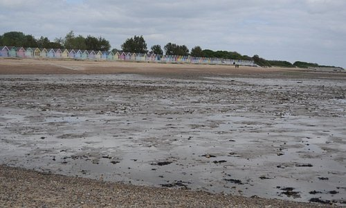 West Mersea beach as seen from a dry spot in the sea (the tide was low).