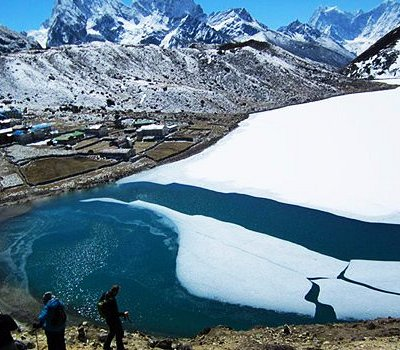 Partially Frozen Gokyo Lake in the Everest region
