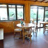 Inside dining room; terrace through the sliding door