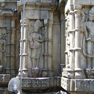 Beautiful sculptures adorn the temple walls