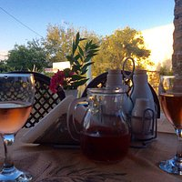 Evening drinks at The Rose Tree, their own tasty Rose wine