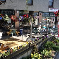 the outside patio seating