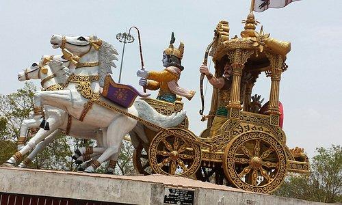 Lord Krishna giving upadesha to Arjun