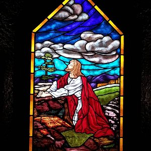 Stained-glass window inside the prayer tower at Epworth by the Sea