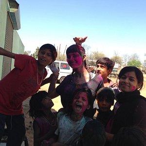 The kids took me around their village on Holi day.