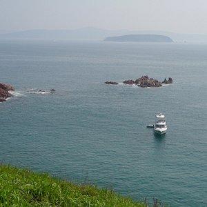 Яхточка направляется прямо в заповедную бухту.