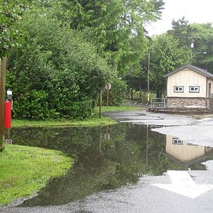 Rained so hard it flooded roads, sites.