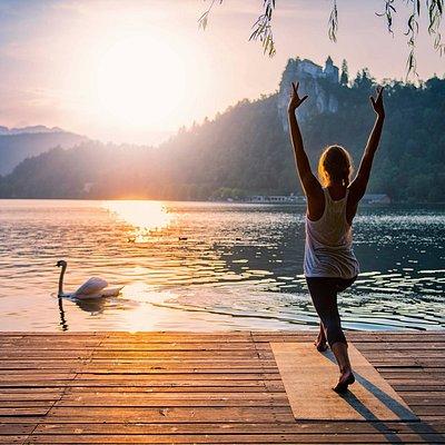 Yoga at Bled, Slovenia. Photo by Stevica Mrdja