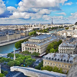 A rare view of Paris from the top of the tower St Jacques; start of the pilgrimage to Compostela