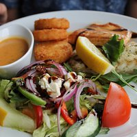 Cod and arctic chard with potato cakes and salad