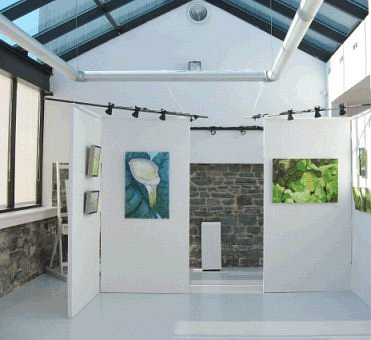 A beautiful small gallery with a different art exhibition each month.