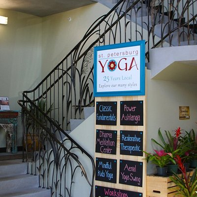 Lobby of St Pete Yoga, located above Rollin' Oats