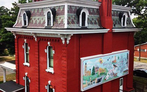 The building next door - similarly beautiful, featuring a mural!