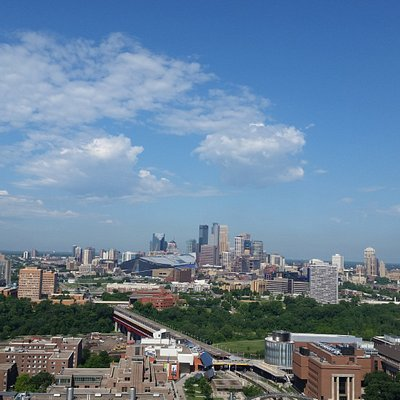 The view of downtown Minneapolis from East Bank.