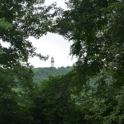 View of Heublein Tower through the trees from the river.