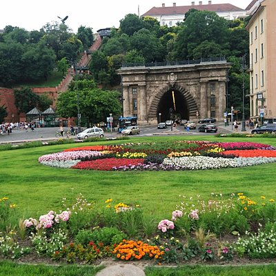Budapest - Clark Adam Square - in the background: Buda Castle Tunnel