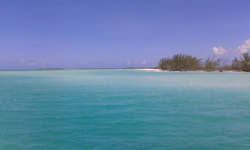 Standing on Cedar Point on Middle Caicos looking at Joe Grant's Cay