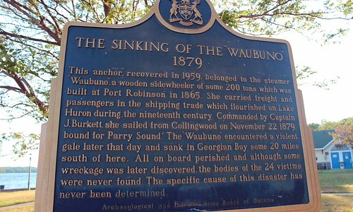 Historical Plaque at the Waubuno Beach