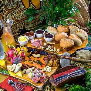 Morning tea at Tjapukai exotic tropical fruits and damper