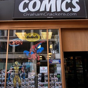 Front entrance of Graham Cracker Comics (notice the revolving door)
