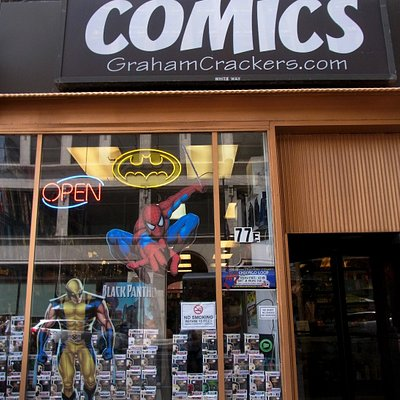 Front entrance of Graham Cracker Comics (notice the revolving door)