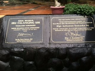 Tanda peresmian Gua Maria Talanging Sih