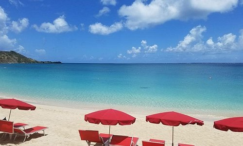 Grand Case beach, looking west/sw from Rainbow Cafe aprox 10am July